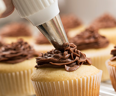 Gluten-Free Vanilla Bean Golden Cupcakes with Milk Chocolate Frosting